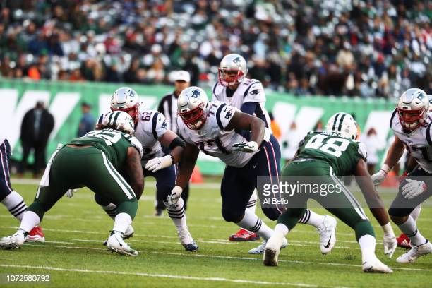 Trent Brown of the New England Patriots in action against the New York Jets during their game at MetLife Stadium on November 25 2018 in East...