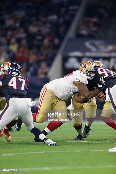 Trent Brown of the San Francisco 49ers blocks during the game against the Houston Texans at NRG Stadium on August 15 2015 in Houston Texas The Texans...
