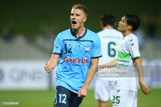 Trent Buhagiar of Sydney celebrates scoring a goal during the AFC Champions League Preliminary Stage match between Sydney FC and Jeonbuk Hyundai...