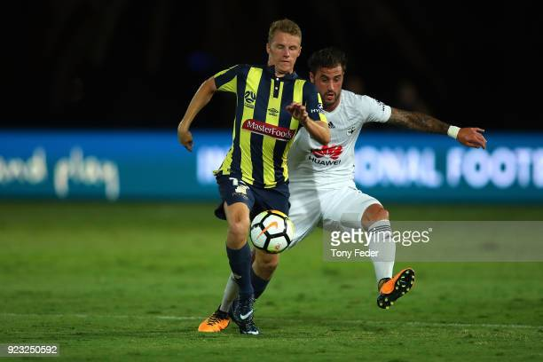 Trent Buhagiar of the Mariners contests the ball during the round 21 ALeague match between the Central Coast Mariners and the Wellington Phoenix at...
