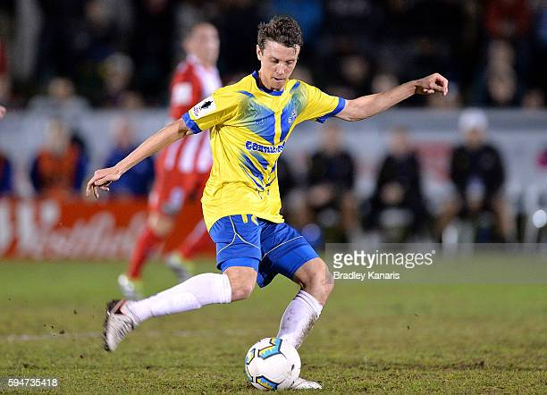 Trent Clulow of the Strikers in action during the FFA Cup Round of 16 match between the Brisbane Strikers and Melbourne City FC at Perry Park on...