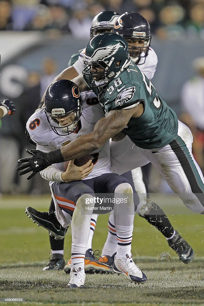 Trent Cole #58 of the Philadelphia Eagles sacks quarterback Jay Cutler #6 of the Chicago Bears during a game on December 22, 2013 at Lincoln Financial Field in Philadelphia, Pennsylvania. The Eagles won 54-11.