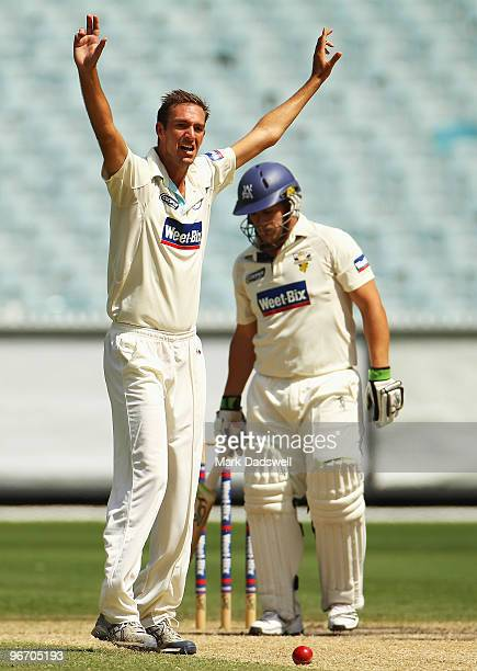 Trent Copeland of the Blues appeals for an lbw decision against Aaron Finch of the Bushrangers during day four of the Sheffield Shield match between...