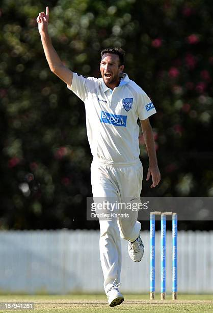 Trent Copeland of the Blues celebrates after taking his fifth wicket of the day dismissing James Hopes of the Bulls during day two of the Sheffield...