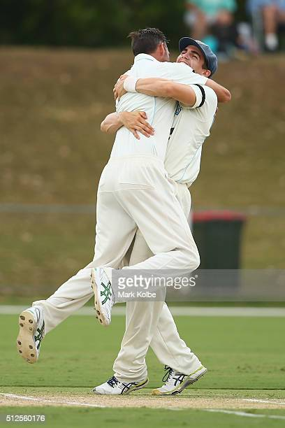 Trent Copeland of the Blues celebrates with Sean Abbott of the Blues after taking his fifth wicket during day three of the Sheffield Shield match...