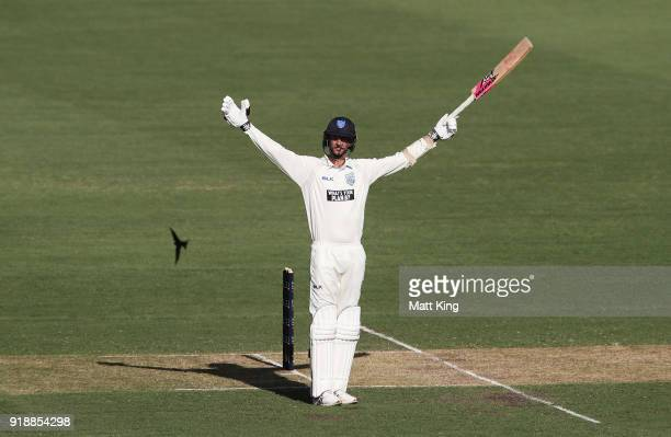 Trent Copeland of the Blues signals to team mates during day one of the Sheffield Shield match between New South Wales and South Australia at Sydney...