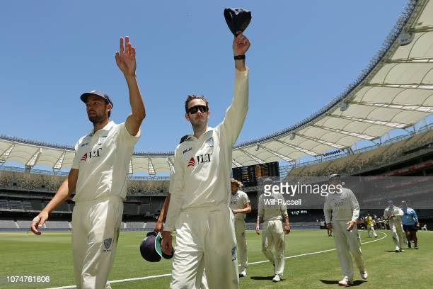 Trent Copland and Kurtis Patterson of the Blues leave the field after defeating the Warriors during Day four of the Sheffield Shield match between...