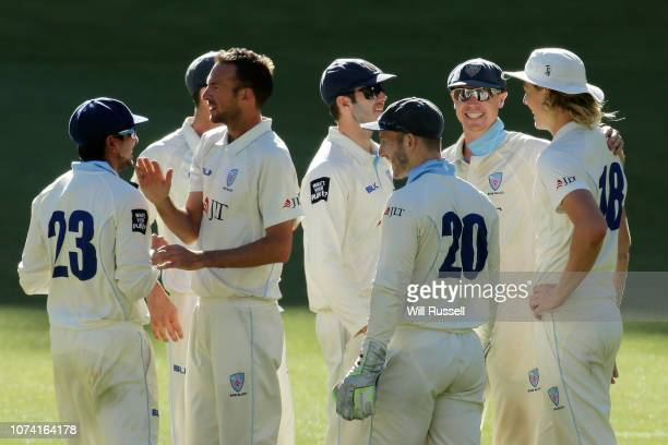 Trent Copland of the Blues celebrates after taking the wicket of Hilton Cartwright of the Warriors during Day three of the Sheffield Shield match...
