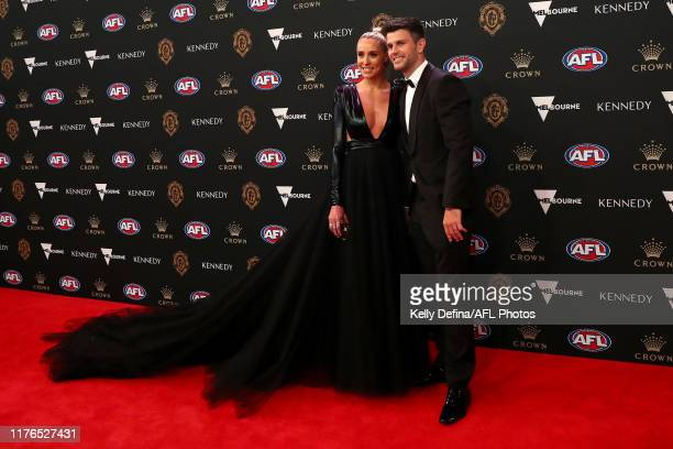 Trent Cotchin and Brooke Cotchin arrive ahead of the 2019 Brownlow Medal at Crown Palladium on September 23 2019 in Melbourne Australia