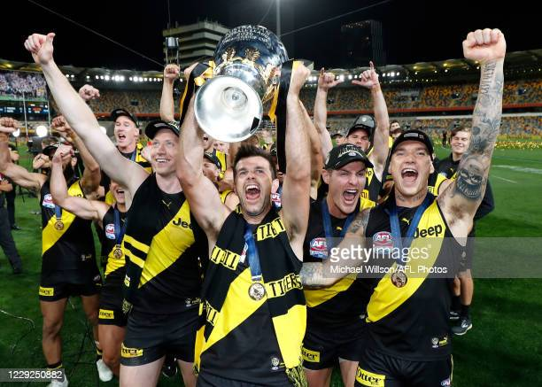 Trent Cotchin and Dustin Martin of the Tigers celebrate during the 2020 Toyota AFL Grand Final match between the Richmond Tigers and the Geelong Cats...