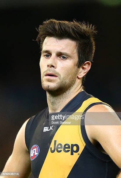 Trent Cotchin, captain of the Tigers reacts at full time after losing the round six AFL match between the Richmond Tigers and the Port Adelaide Power...