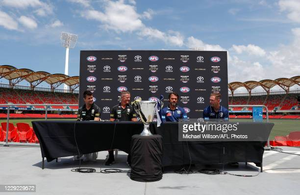 Trent Cotchin, Damien Hardwick, Senior Coach of the Tigers, Chris Scott, Senior Coach of the Cats and Joel Selwood of the Cats speak with media...