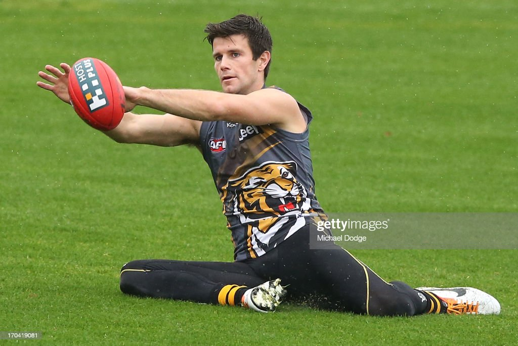 Trent Cotchin marks the ball during a Richmond Tigers AFL training session at ME Bank Centre on June 13, 2013 in Melbourne, Australia.