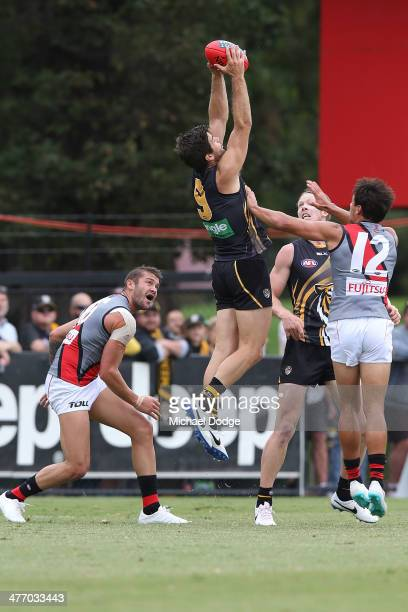 Trent Cotchin of the Tigers against Tayte Pears and Mark Baguley of the Bombers during an AFL Practice Match between the Richmond Tigers and the...