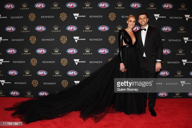Trent Cotchin of the Tigers and Brooke Cotchin arrive ahead of the 2019 Brownlow Medal at Crown Palladium on September 23 2019 in Melbourne Australia