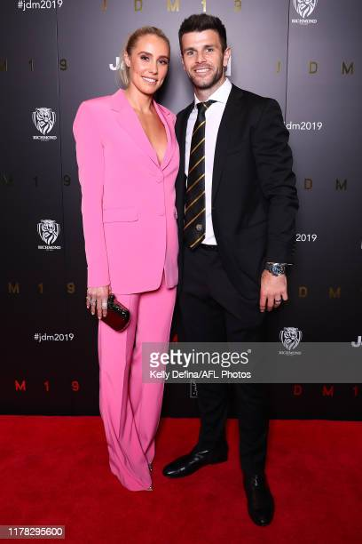 Trent Cotchin of the Tigers and Brooke Cotchin attend the 2019 Richmond Tigers AFL best & fairest at Crown Palladium on October 01, 2019 in...