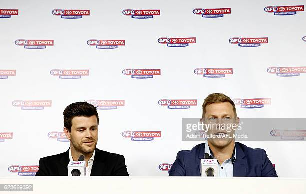 Trent Cotchin of the Tigers and Sam Mitchell of the Eagles addresses the media during a joint press conference after being awarded the 2012 Brownlow...
