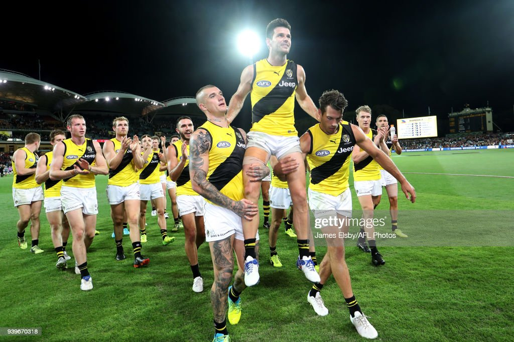 Trent Cotchin of the Tigers celebrates his 200th game during the 2018 AFL round 02 match between the Adelaide Crows and the Richmond Tigers at Adelaide Oval on March 29, 2018 in Adelaide, Australia.