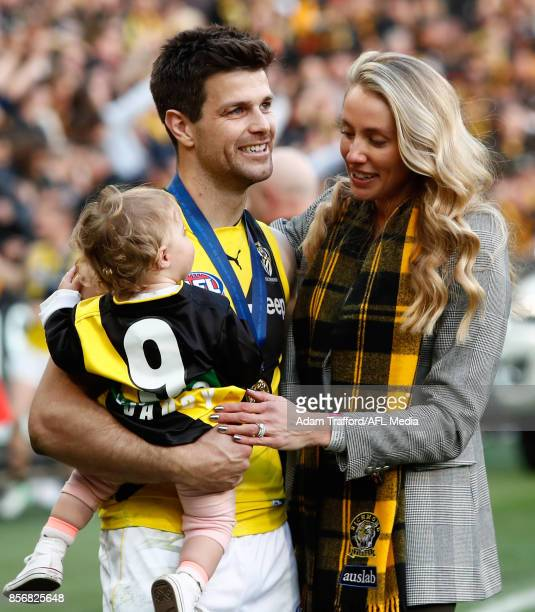 Trent Cotchin of the Tigers celebrates with his family during the 2017 Toyota AFL Grand Final match between the Adelaide Crows and the Richmond...