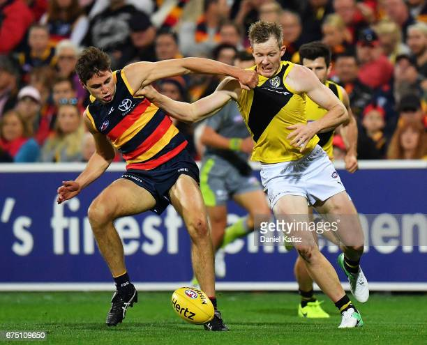 Trent Cotchin of the Tigers competes for the ball during the round six AFL match between the Adelaide Crows and the Richmond Tigers at Adelaide Oval...