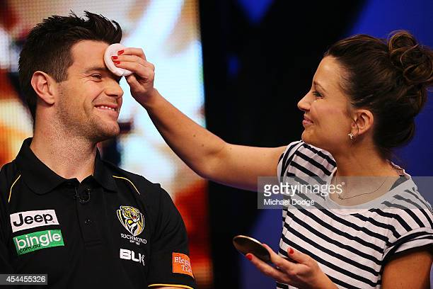 Trent Cotchin of the Tigers has make-up applied during the AFL Finals Series Launch at Fox Footy on September 1, 2014 in Melbourne, Australia.