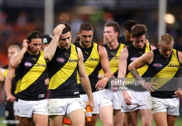 Trent Cotchin of the Tigers looks dejected after the round nine AFL match between the Greater Western Sydney Giants and the Richmond Tigers at...