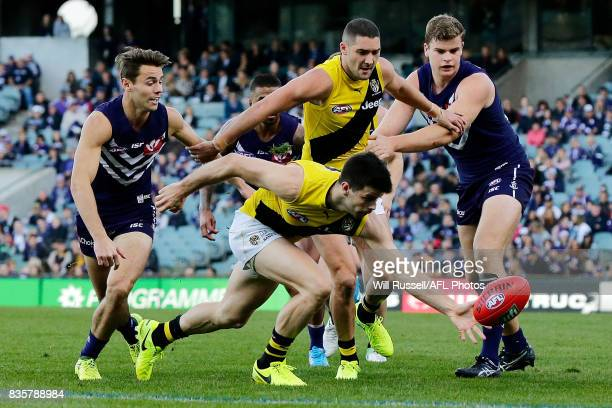Trent Cotchin of the Tigers paddles the ball during the round 22 AFL match between the Fremantle Dockers and the Richmond Tigers at Domain Stadium on...