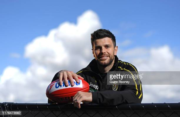 Trent Cotchin of the Tigers poses during a Richmond Tigers AFL media opportunity at Punt Road Oval on September 23, 2019 in Melbourne, Australia.