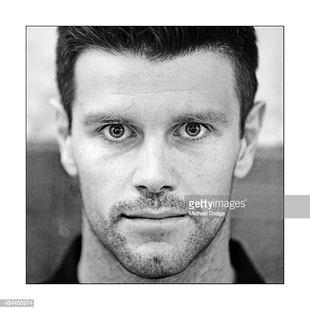 Trent Cotchin of the Tigers poses during the AFL Finals Series Launch at Fox Footy on September 1 2014 in Melbourne Australia