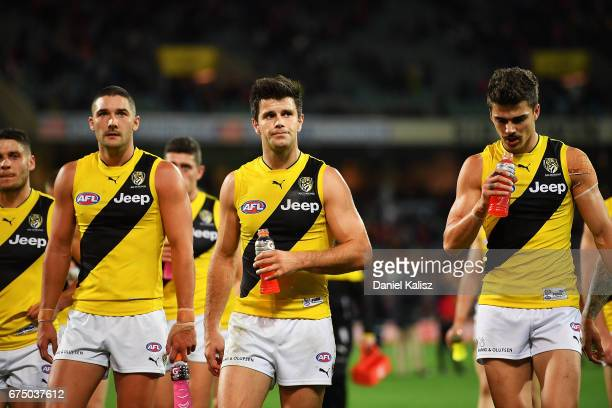 Trent Cotchin of the Tigers walks from the field after the round six AFL match between the Adelaide Crows and the Richmond Tigers at Adelaide Oval on...