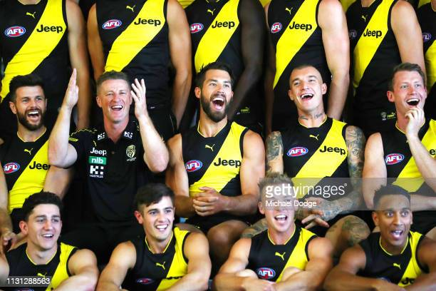 Trent Cotchin Tigers head coach Damien Hardwick, Alex Rance, Dustin Martin and Dylan Grimes of the Tigers react during the AFL Richmond Tigers team...