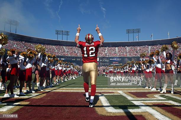 Trent Dilfer of the San Francisco 49ers enters the field before his game against the Baltimore Ravens on October 7 2007 at Monster Park in San...