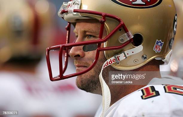 Trent Dilfer of the San Francisco 49ers watches on from the sidelines against the Carolina Panthers during their game at Bank of America Stadium on...