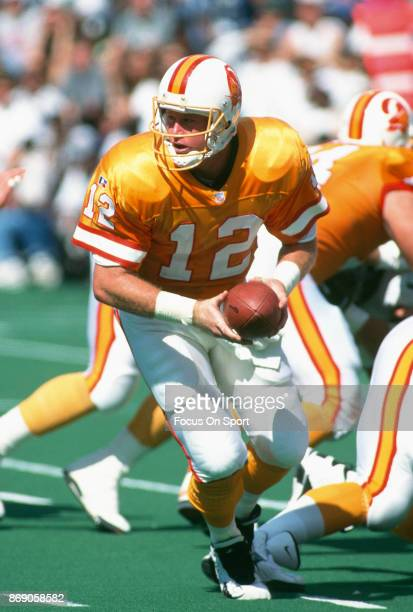 Trent Dilfer of the Tampa Bay Buccaneers in action against the Philadelphia Eagles during an NFL football game September 3 1995 at Veterans Stadium...