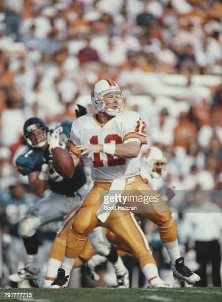 Trent Dilfer Quarterback for the Tampa Bay Buccaneers during the National Football Conference Central game against the Jacksonville Jaguars on 19...