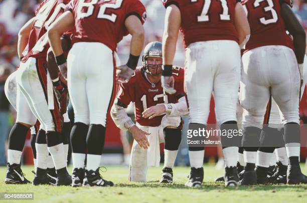 Trent Dilfer Quarterback for the Tampa Bay Buccaneers in the huddle with his offensive line during the National Football Conference Central game...