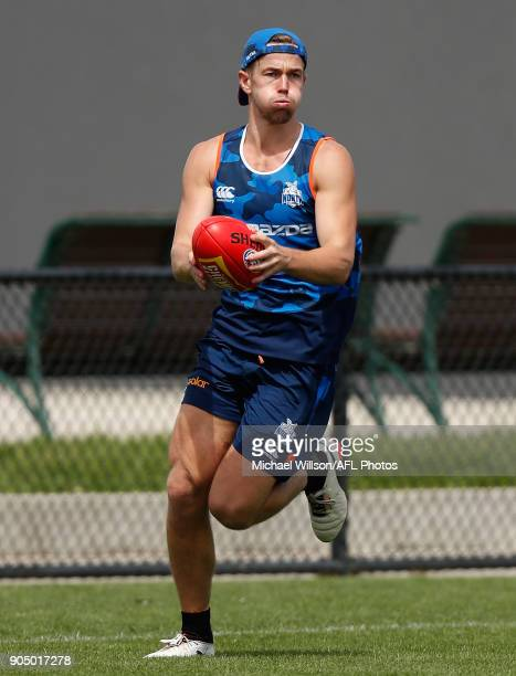 Trent Dumont of the Kangaroos in action during a North Melbourne Kangaroos Training Session at Arden Street Ground on January 15 2018 in Melbourne...