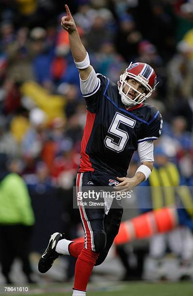 Trent Edwards of the Buffalo Bills reacts to throwing the Bills first touchdown pass against the New York Giants on December 23, 2007 at Ralph Wilson...