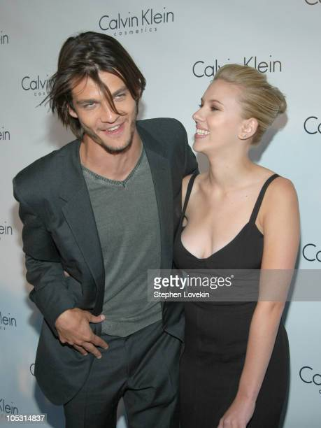 Trent Ford and Scarlett Johansson during Calvin Klein Launch Party for Eternity Moment Fragrance Arrivals at Hotel Gansevoort in New York NY United...
