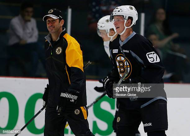 Trent Frederic laughs as he skates around during Bruins development camp at Ristuccia Arena in Wilmington Mass on July 12 2016