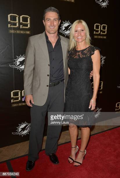 Trent Gamble and Maggie Macelt attend The Miami Dolphins 'Hall of Fame Celebration' hosting Jason Taylor at Hard Rock Stadium on December 02 2017 in...