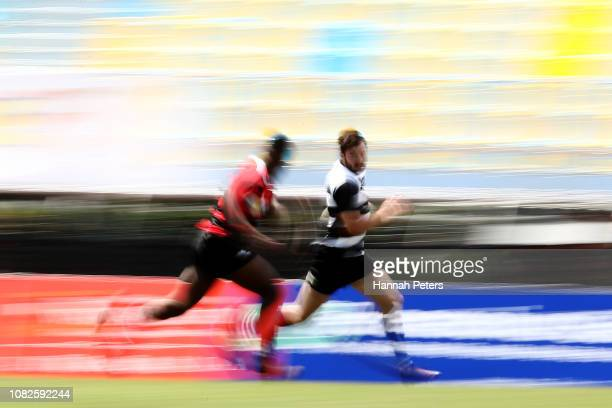 Trent Hape of Hawke's Bay makes a break against Canterbury during the TECT National Sevens tournament at Tauranga Domain on December 15 2018 in...