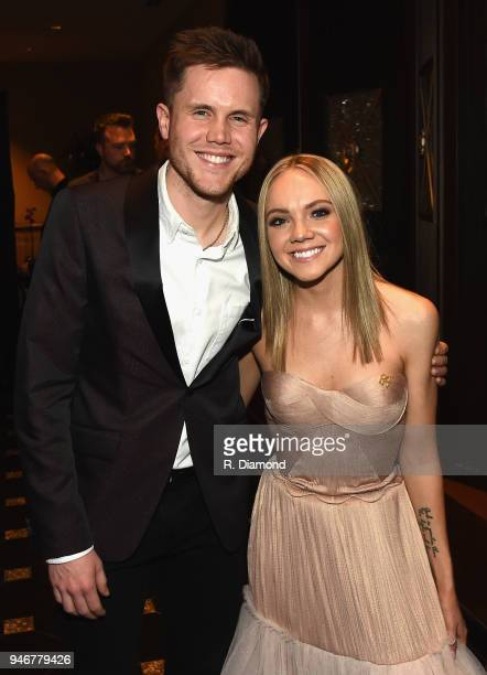 Trent Harmon and Danielle Bradbery attend the 53rd Annual ACM Awards celebration with Big Machine Label Group at MGM Grand Hotel Casino on April 15...