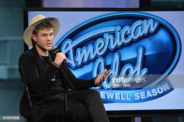 Trent Harmon winner of the final season of 'American Idol' discusses his experience on the show and the road ahead at AOL Build at AOL Studios In New...