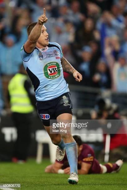 Trent Hodkinson of the Blues celebrates scoring a try during game two of the State of Origin series between the New South Wales Blues and the...