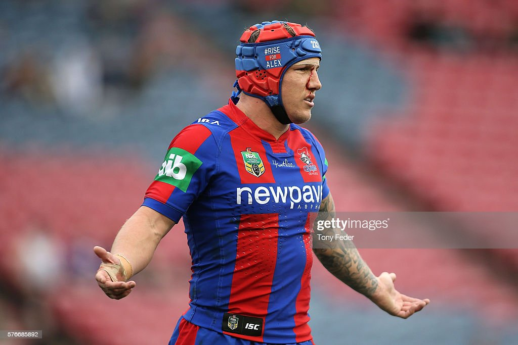 Trent Hodkinson of the Knights wears a helmet during the round 19 NRL match between the Newcastle Knights and the Melbourne Storm at Hunter Stadium on July 17, 2016 in Newcastle, Australia.