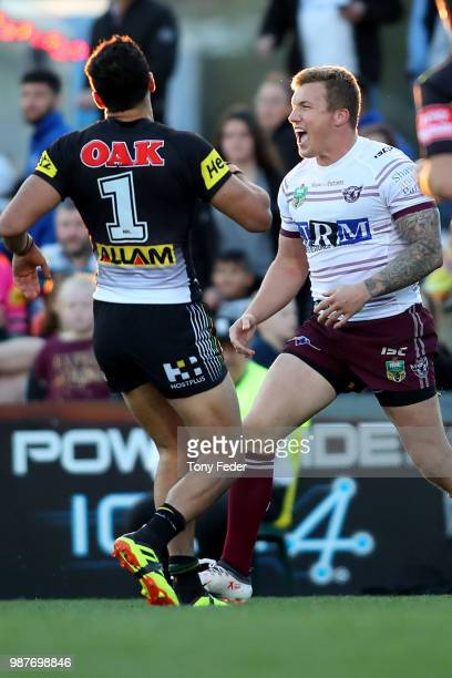 PENRITH AUSTRALIA JUNE Trent Hodkinson of the Sea Eagles celebrates a try during the round 16 NRL match between the Penrith Panthers and the Manly...