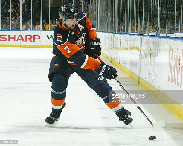 Trent Hunter of the New York Islanders skates against the New York Rangers on March 5, 2009 at Nassau Coliseum in Uniondale, New York. Rangers defeat...