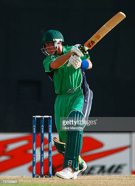 Trent Johnston of Ireland hits out during the ICC Cricket World Cup Super Eights match between England and Ireland at the Guyana National Stadium on...
