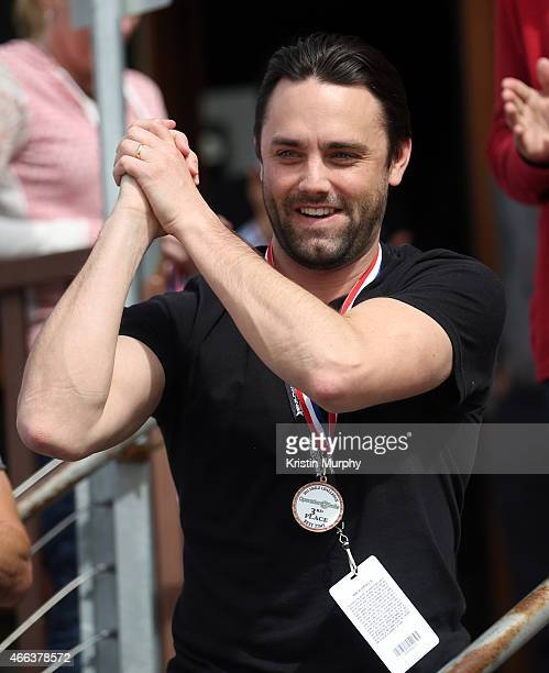 Trent Kinney reacts to getting third place in Operation Smile's 4th Annual Park City 2015 Celebrity Ski Smile Challenge on March 14 2015 in Park City...